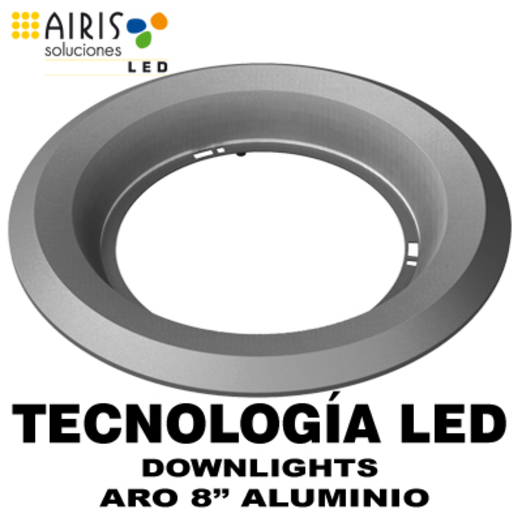 "AIRIS DWLF8A ARO DECORATIVO PARA DOWNLIGHT 8"" ALUMINIO MATE"