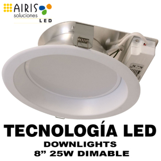 "AIRIS DL258WD DOWNLIGHT 8"" 25W 3000K CRI >80 Regulable BLANCO CALIDO"